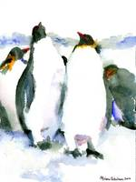 Penguin Lovers, Watercolor Art