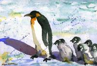 Penguin Art, Watercolor Painting Art
