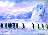 Penguin March, Abstract Watercolor Art