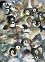 Penguin Nursery III, Abstract Watercolor Art