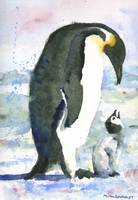 Penguin Parent, Watercolor Painting of baby bird i