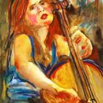 """Cellist in Blue"" by schulmanart"