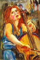 Cellist in Blue