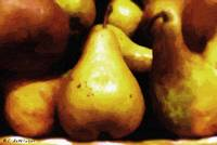 Plate of Mottled Pears