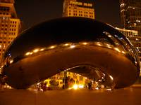 the Cloud Gate at night