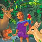 """African girl with forest animals"" by olusola"