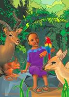 African girl with forest animals