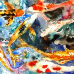 """Butterfly Koi, Abstract Watercolor Painting"" by schulmanart"