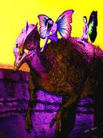 Dilaphasaurs Dinosaur and 3 Fairies