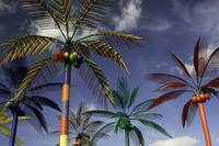 Plastic Palm Trees against Blue Sky