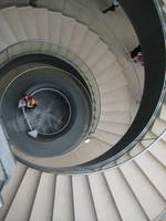 Spiraling stairs at Louvre Museum