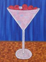 martini glass burgandy olives blue background