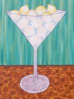 martini glass pastel onions sea green background