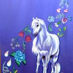 """white pony and drifting petals 2002"" by cabartbycindybeck"