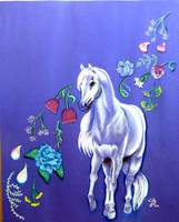 white pony and drifting petals 2002