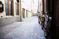Bikes in an alley