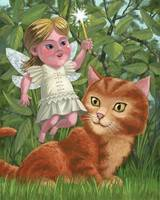 kitten with girl fairy in garden