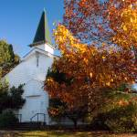 """Old White Church in Autumn"" by staceylynnpayne"