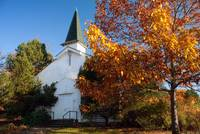 Old White Church in Autumn