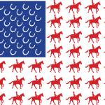 """USA Flag Horse & Rider Design"" by crazyabouthercats"