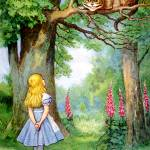 """Alice and the Cheshire Cat in Wonderland"" by DevereauxGallery"