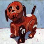 """""""Fisher Price toy dog on blue"""" by meredithsteele"""