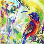 """Painted Bunting Abstract"" by adriennemyles"