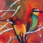 """Bee Eaters against Sunset"" by adriennemyles"