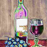 """Wine and grapes still life"" by carolekeen"