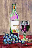 Wine and grapes still life