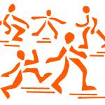 """the art of running white background orange"" by alansmithart"