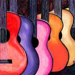 """Acoustic Guitars Fine Art Colorful Print"" by lonisart570"