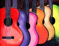 Acoustic Guitars Fine Art Colorful Print