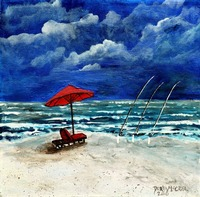 surf fishing acrylic painting