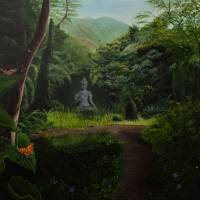 Buddha Statue in the Rainforest Art Prints & Posters by Denise Marie Saylor