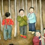 """Boys in the Forest, China Series Illustration"" by MiriamNerlove"