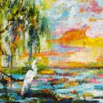 """Okefenokee Magic Sunrise Oil Painting"" by GinetteCallaway"