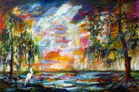 Okefenokee Georgia Swamp Sunrise Oil Painting by G
