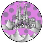 """sagrada unfamiliar (pink sky)"" by artmixture"