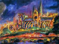 Notre Dame at Night Paris Oil Painting by Ginette