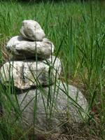 Stacked Rocks in Grass