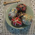 """Romanian Easter eggs; traditional tablecloth"" by TheArtistsBrush"