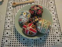Romanian Easter eggs; traditional tablecloth