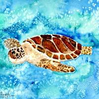 """sea turtle sea life painting print"" by derekmccrea"