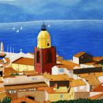 """St Tropez Clock Tower view of Gulf of St Tropez"" by CarrieWaters"
