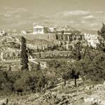 """Athenian Acropolis from Philopappou Hill, 1960Gold"" by PriscillaTurner"