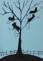 Black Cats in Berry Tree