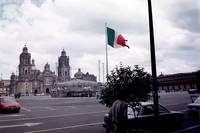 Zocalo with a view of the Cathedral and flag