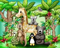 Zoo Animals with Giraffe