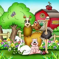 Farm Animals with Llama Art Prints & Posters by Rhianna Smith